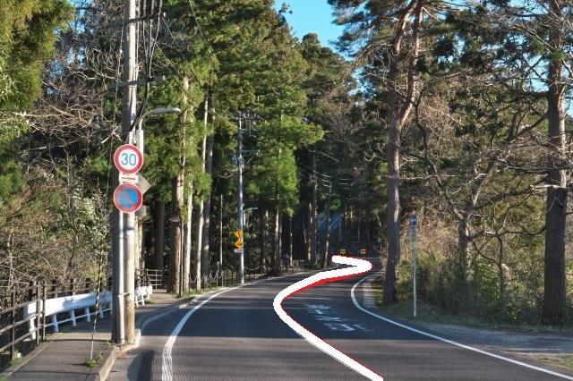 仙台城へ向かう道路